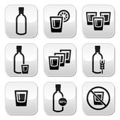 Vodka, strong alcohol buttons set — Vector de stock