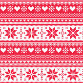 Nordic seamless knitted Christmas red heart pattern — Vector de stock