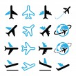 Plane, flight, airport  black and blue icons set — Stock Vector #50925015