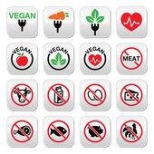 Vegan, no meat, vegetarian, lactose free buttons set — Stock Vector