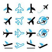 Plane, flight, airport  black and blue icons set — Vecteur