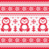 Christmas, winter knitted pattern with penguins - Scandinavian sweater style — 图库矢量图片