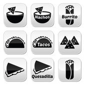 Mexican food buttons - tacos, nachos, burrito, quesadilla — Stock Vector