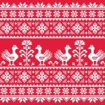 Ukrainian Slavic folk art knitted red emboidery pattern with birds — Stock Vector #50985697