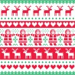 Winter, Christmas red and green seamless vector pattern or print — Stock Vector #51018423
