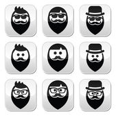 Man with beard with moustache or mustache, hipster buttons set — Stock Vector