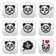 Panda bear buttons set - happy, sad, angry isolated on white — Stock Vector