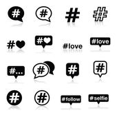 Hashtag, social media icons set — Stock Vector