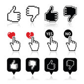 Cursor hand - like, unlike, love, vote yes or no icons set — Stock Vector