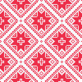 Seamless Ukrainian, Slavic folk art red embroidery pattern — Vecteur