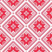 Seamless Ukrainian, Slavic folk art red embroidery pattern — Stok Vektör