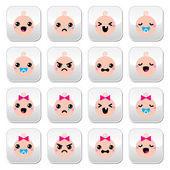 Baby boy and girl cute Kawaii buttons set — Stock Vector