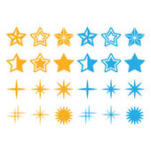 Stars yellow and blue stars icons set — Stock Vector