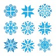 Christmas, winter blue snowflakes vector icons set — Stock Vector