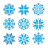 Christmas, winter blue snowflakes vector icons set — Vettoriale Stock