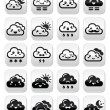 Cute Kawaii clouds with different expressions - happy, sad, angry — Stock Vector #51285009