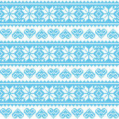 Winter, Christmas seamless pixelated blue pattern with hearts — Stock Vector