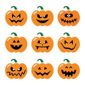 Halloween pumpkin vector icons set — Vector de stock