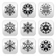 Snowflakes buttons set on black and white background — Stock Vector