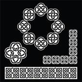 Irish Celtic patterns, knots and braids on black — Stock Vector