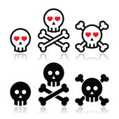 Cartoon skull with bones and hearts vector icon set — Stock Vector