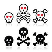 Dibujos animados cráneo con huesos y corazones vector icono — Vector de stock
