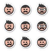 Man with moustache or mustache, avatar vector labels set — Stock Vector