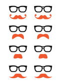 Geek glasses and ginger moustache or mustache vector icons — Vector de stock