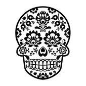 Mexican sugar skull - Polish folk art style - Wzory Lowickie, Wycinanka — Stock Vector