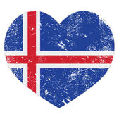 Iceland heart retro flag — Stock Vector