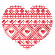 Traditional Ukrainian folk art heart knitted red embroidery pattern — Stock Vector #51466027