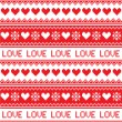 Nordic, winter love seamless red heart pattern — Stock Vector #51469163