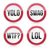 YOLO, swag, WTF, LOL vector signs — Stock Vector
