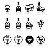 Brandy and cognac vector icons set — Stock Vector