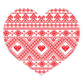 Traditional Ukrainian folk art heart knitted red embroidery pattern — Stock Vector