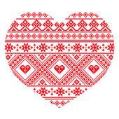 Traditionell ukrainsk folkkonst hjärtat stickad röd broderi mönster — Stockvektor