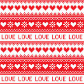 Nordic, winter love seamless red heart pattern — Stock Vector