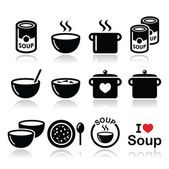 Soup in bowl, can and pot - food icon set — Stock Vector