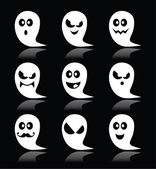 Halloween ghost vector icons set on black backgroud — Stock Vector