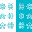 Snowflakes, winter blue decoration icons set — Stock Vector