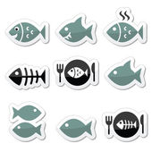 Fish, fish on plate, skeleton vector icons — Stock Vector