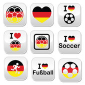I love German football, soccer buttons set — Stock Vector
