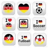 I love German football, soccer buttons set — Stock Vector