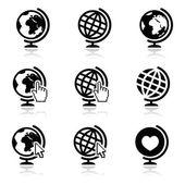 Globe earth vector icons with cursor hand and arrow — Stock Vector
