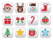 Christmas colorful buttons set - Santa, present, tree, Rudolf — Stock Vector