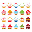 Cupcake with heart, cherry and sparkles cute icons set — Stock Vector