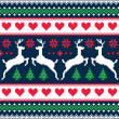 Winter, Christmas seamless pixelated pattern with deer and hearts — Stock Vector #51748587