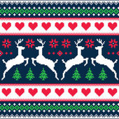 Winter, Christmas seamless pixelated pattern with deer and hearts — Stock Vector