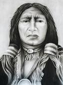 Portrait of Redskin, hand drawn sketc — Stock Photo