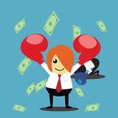 Successful Businessman Standing Under Falling Money — Stock Photo